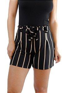 Shorts cintura alta preto e dourado viscolycra