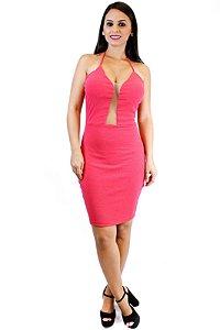 Vestido canelado com tulê pink