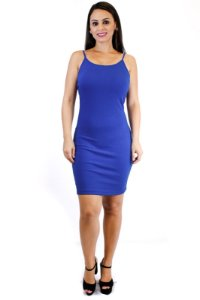 Vestido malha canelada costas núa azul