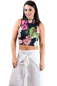 Blusa Cropped gola alta preto e rosa