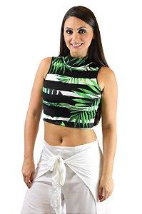 Blusa Cropped gola alta preto e verde