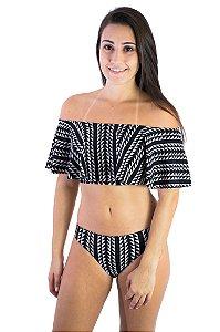 Biquíni ombro a ombro babado e calcinha empina bumbum preto e off white