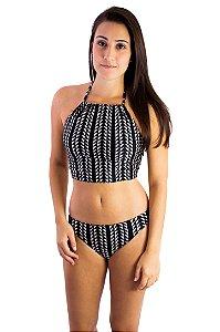 Biquíni frente única e calcinha empina bumbum preto e off white