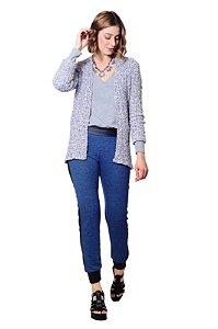 Calça jogging moletinho azul jeans