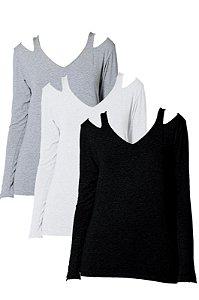 Kit 20% Off  - 9 Blusas recorte ombro manga longa