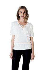 Blusa trança decote Tricot branca