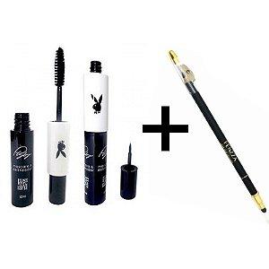 Kit Máscara para Cílios e Delineador Playboy 2 em 1 + Lápis para Olhos com Apontador e Esfumador Fenzza