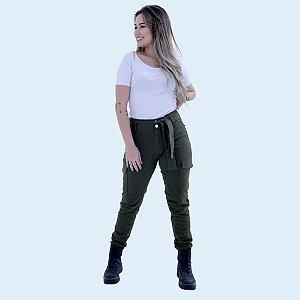 Calça CAPRI Sarja Verde Militar CARGO - Loopper - K2883165