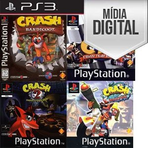 Crash Bandicoot 1,2,3 + Crash Team Racing Ps3 Mídia Digital