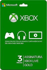 Cartão Xbox Live Gold  3 Meses Gift Card  Assinatura Microsoft