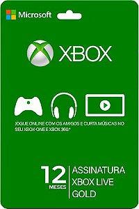 Cartão Xbox Live Gold  12 Meses Gift Card 1 Ano Assinatura Microsoft