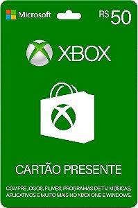 Cartão Presente Xbox Live R$50 Reais Xbox Live Brasil Microsoft