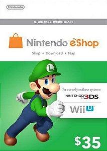 Cartão Nintendo eShop Crédito $35 Dólares Eshop americana