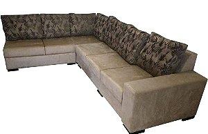 Sofá em L com almofadas moveis e assentos retrateis. Produzimos sob medida. Consulte orçamento. Lv Estofados.