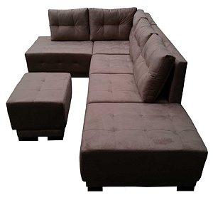Sofá em L com Almofadas Móveis e Puf para apoio dos pés. Modelo produzido sob medida. Lv Estofados.