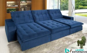 Sofa retrátil e reclinável em pillow top (espuma hiper soft) com total aberto de 1,80 metros modelo LV118VERS.