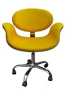 Cadeira Tulipa com Formica ( cor tabaco )  estrela cromada, rodízios e regulagem de altura. Lançamento Lv Estofados.