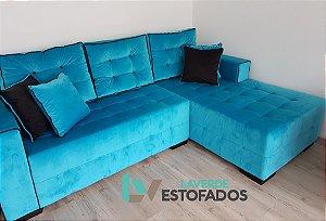 Sofa com chaise e almofadas (encosto) móveis. Produzimos sob medida. Varias Opções de tecidos e cores. Modelo LV61CH . Lv Estofados