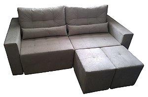 Sofá 3 lugares, Retrátil com puf e almofadas móveis (Produzimos Sob Medida) - Modelo LV100 . Lv Estofados.