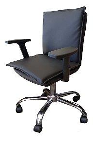 Cadeira para escritório com braço regulavel, base cromada rodízios anti-risco e regulagem de altura . Modelo LV150BECBR. Lv Estofados
