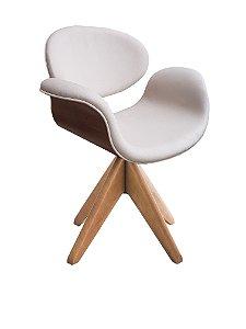 Cadeira tulipa com fórmica Cor Tabaco  e base (pés) de madeira giratória. Modelo LV90BMFT. Lv Estofados