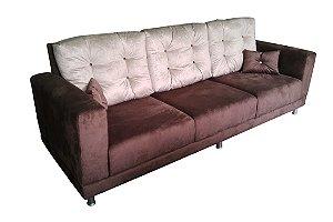 Sofá 3 Lugares com almofadas (encosto) móveis, pés de alumínio, ,modelo LV109PA. Lv Estofados