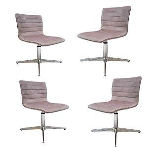 Kit com 4 unidades de Cadeira para sala de jantar com base em alumínio e regulagem de altura. Modelo LV70ALKIT . Lv Estofados
