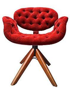 Cadeira Tulipa em capitonê com base de madeira giratória. Várias opções de cores. Lv Estofados.