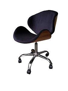 Cadeira Home Office em tecido veludo e fórmica em verniz natural modelo LV40BEC com base estrela cromada rodízios de silicone e regulagem de altura