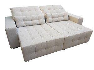 Sofá retrátil e reclinável ( produzido sob medida) , com abertural total de 1,8 metros e almofadas para lombares. Modelo Lv10RR . Lv Estofados