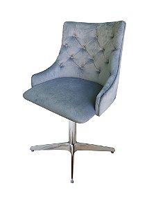 Cadeira para sala de jantar com encosto capitone , base em alumínio e regulagem de altura. Modelo LV114B4C . Lv Estofados
