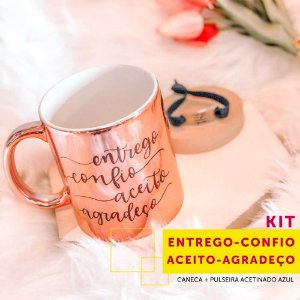 Kit ENTREGO CONFIO ACEITO AGRADEÇO | caneca + pulseira elastano