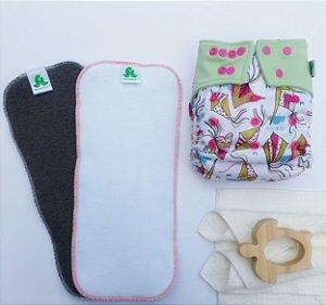 kit 1 fralda com 2 absorventes