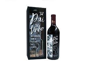 Kit Vinho com caixa/porta rolhas (personalizado com fotos)