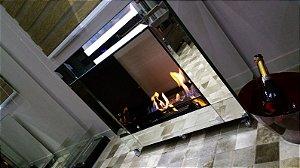 Lareira Ecológica Cubo - Totalmente revestida em vidro temperado e espelhos facetados