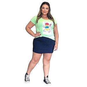 T shirt Verde Limão c/ Estampa Sorvete Color c/ Strass 44