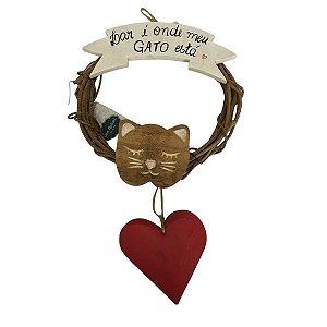 """Guirlanda """"lar é onde meu gato está"""" com Coração"""