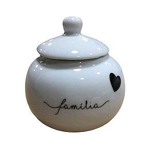 Açucareiro de Porcelana Familia Coração Preto