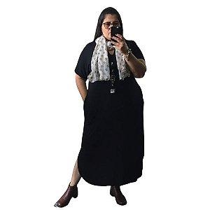 Vestido Camisetão Decote V M Preto