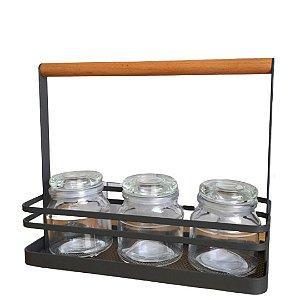 Pote de Vidro Transparente c/ tampa de Vidro 140ml