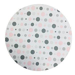 Capa de  Sousplat Branco c/Poás Cinzas e Rosas 35 cm diâmetro