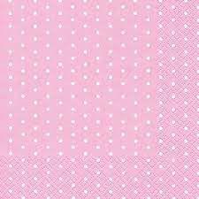 Guardanapo Tricoline - Rosa com Póás Brancos Pequenos - Quadrado - 0,40 x 0,40 cm