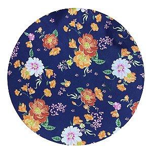 Capa de Souplast Azul Marinho c/ Estampas Rosas Laranja 35 cm diâmetro