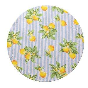 Capa de Souplast Listrado Azul Claro Limão Siciliano 35 cm diâmetro