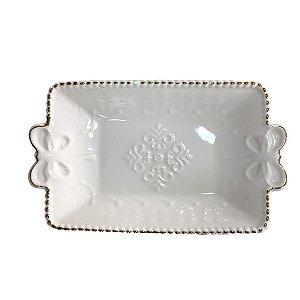 Bandeja de Porcelana Branca com Detalhes Dourado