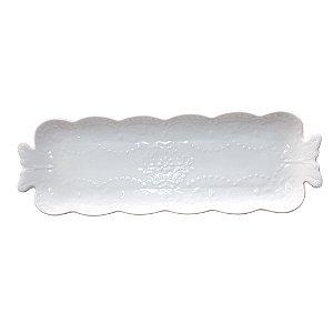 Bandeja Decorativa Branca com Detalhes em Flores