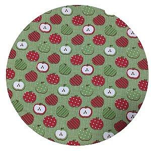 Capa de Sousplat  Verde c/ Maçãs Vermelhas 35 cm diâmetro
