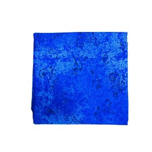 Guardanapo Tricoline - Azul Rajado c/ Arabescos Pretos - Quadrado - 0,40 x 0,40 cm