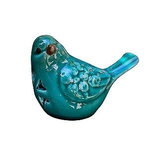 Passarinho Decorativo de Cerâmica Heart Flores Azul