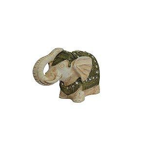 Objeto Decorativo Elefante Resina com Dourado